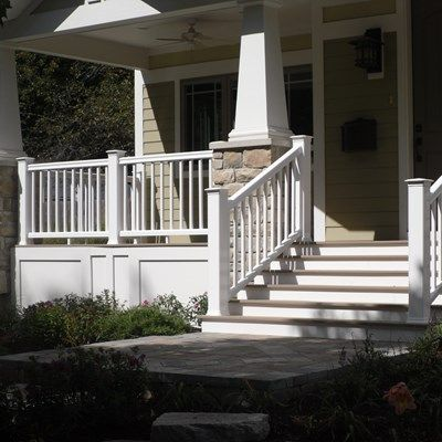This is a TimberTech front porch with Azek XLM decking with Azek
