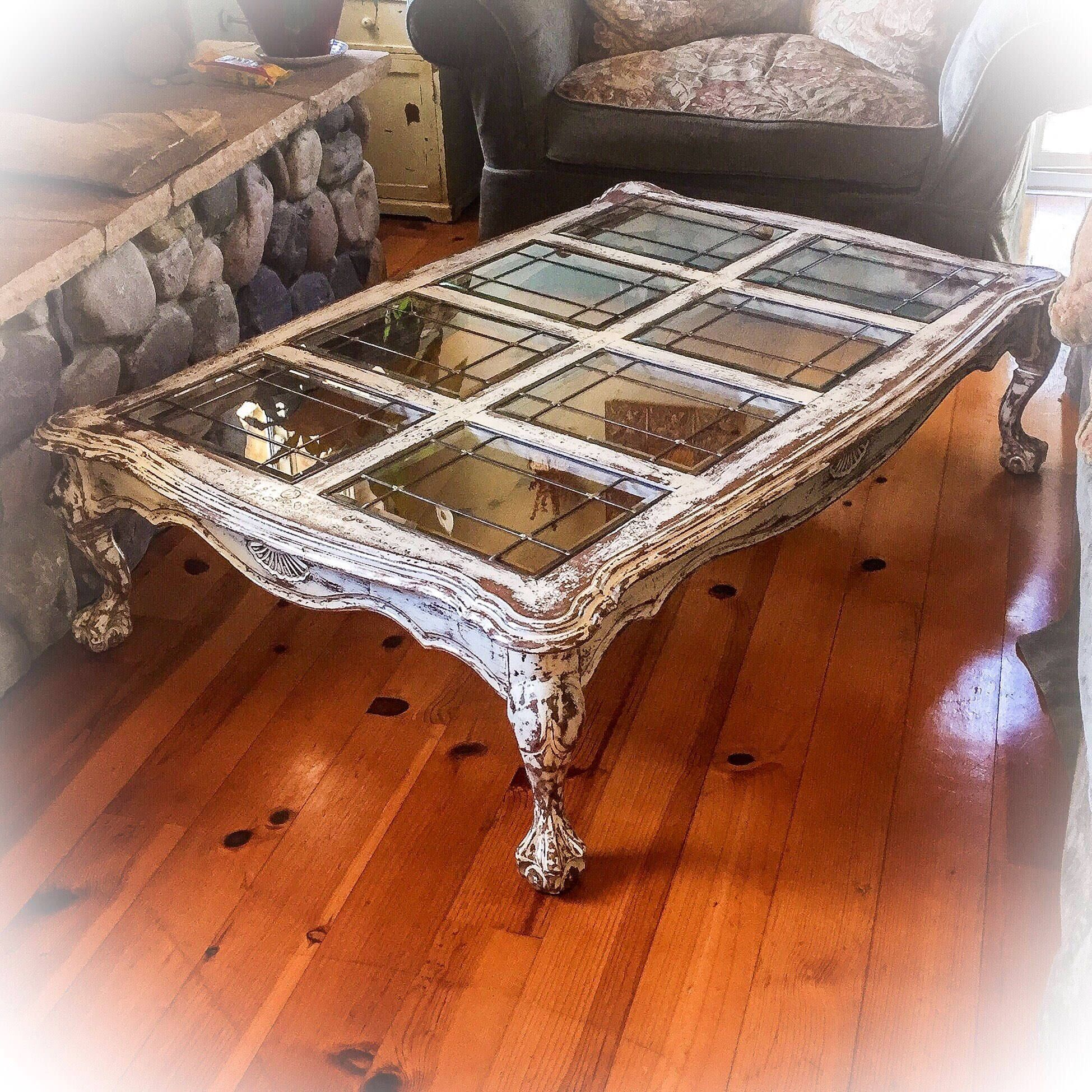 Large Distressed Wood Coffee Table: 5' Farmhouse Coffee Table, Antique White W/ Copper