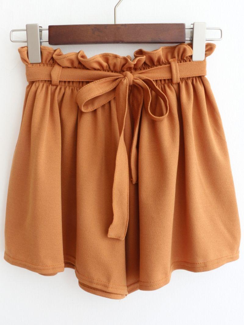 3a79d321ca70 Drawstring Wide Leg Chiffon Shorts -SheIn(abaday)