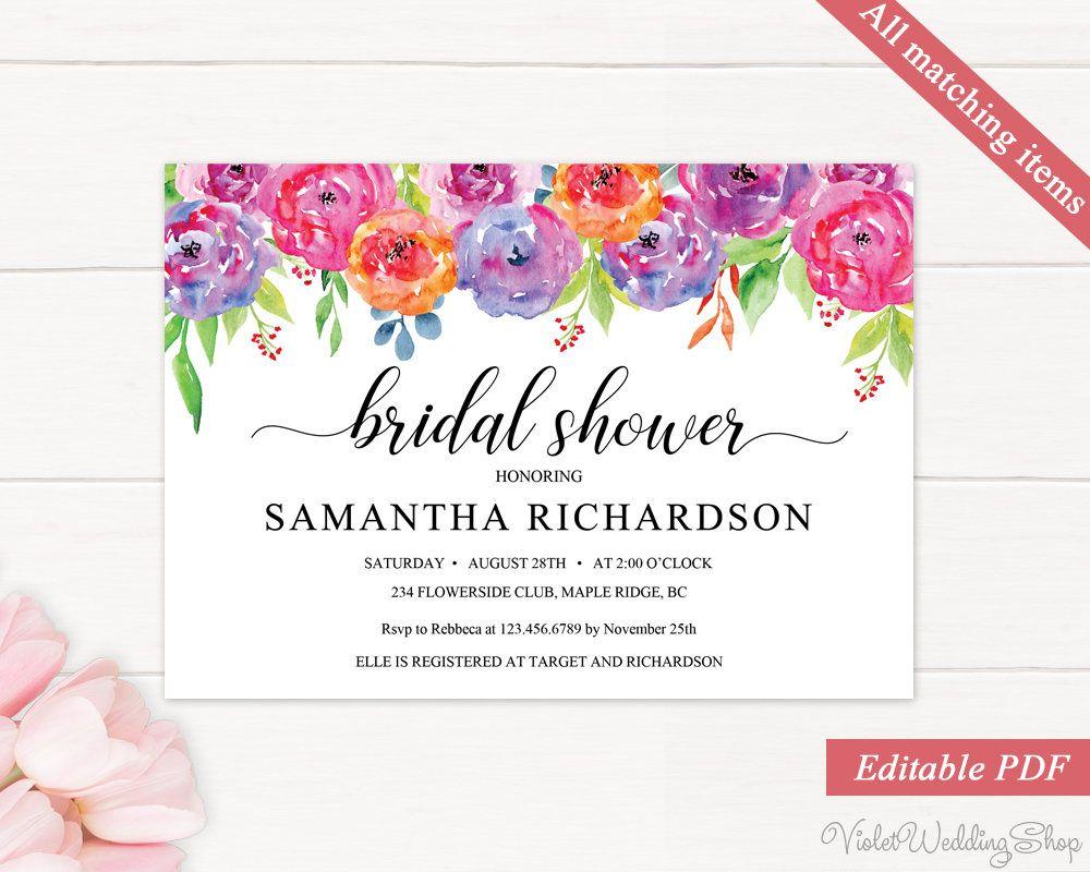 Floral Bridal Shower Invitation Printable Bridal Shower