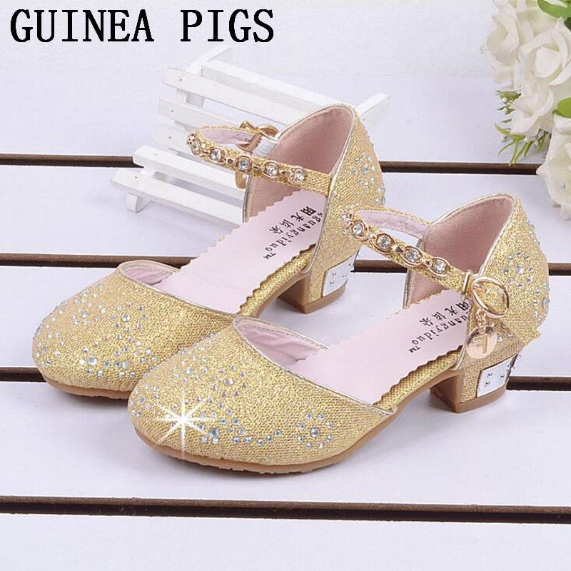 675efa719424 Children Princess Sandals Kids Girls Wedding Shoes High Heels Dress Shoes  Party Shoes For Girls Pink Blue Gold GUINEA PIGS