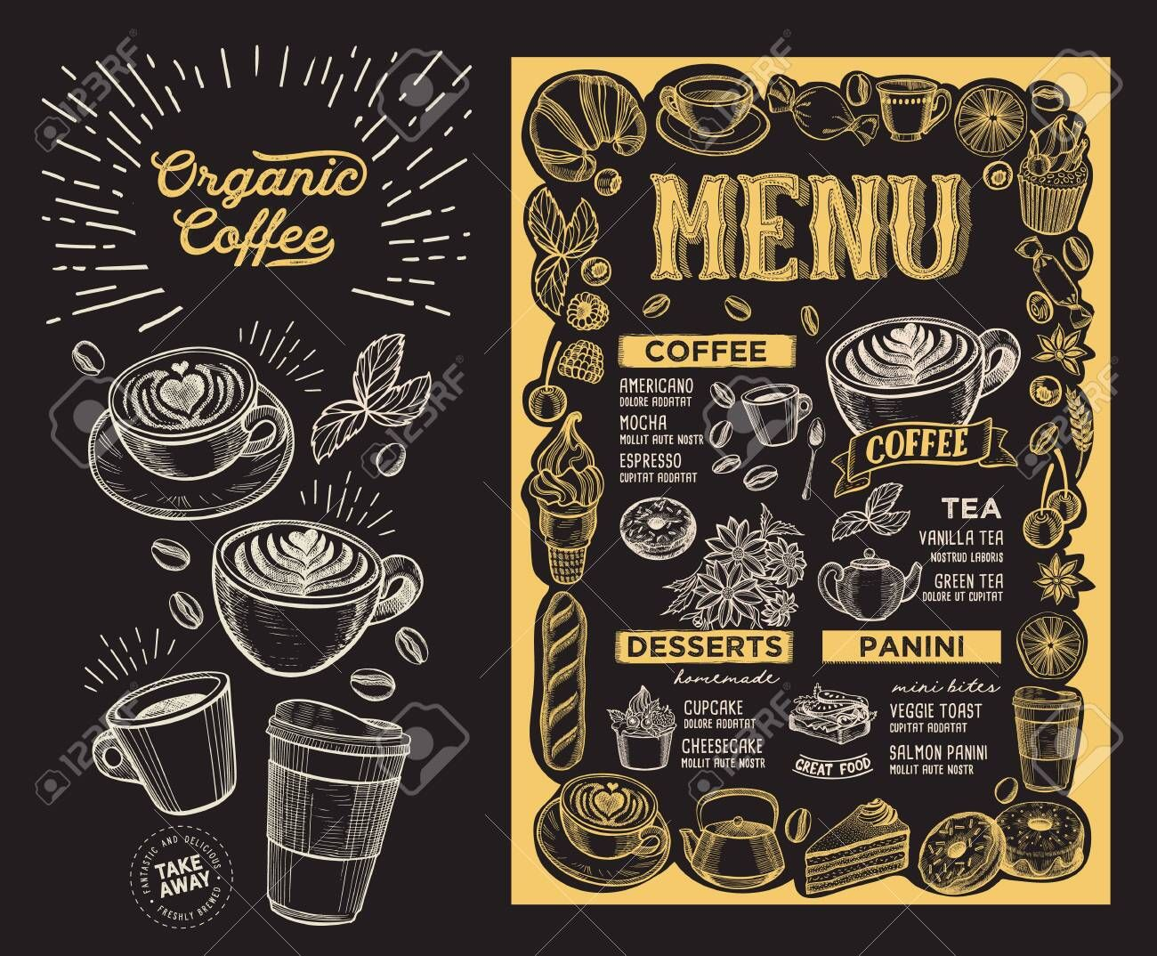 Coffee Menu Template For Restaurant On A Blackboard Background Illustration Brochure For Food And Drink Cafe Desi Coffee Menu Menu Template Food Menu Template