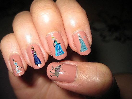 Disney Frozen Water Decal Handmade Transfer Nail By