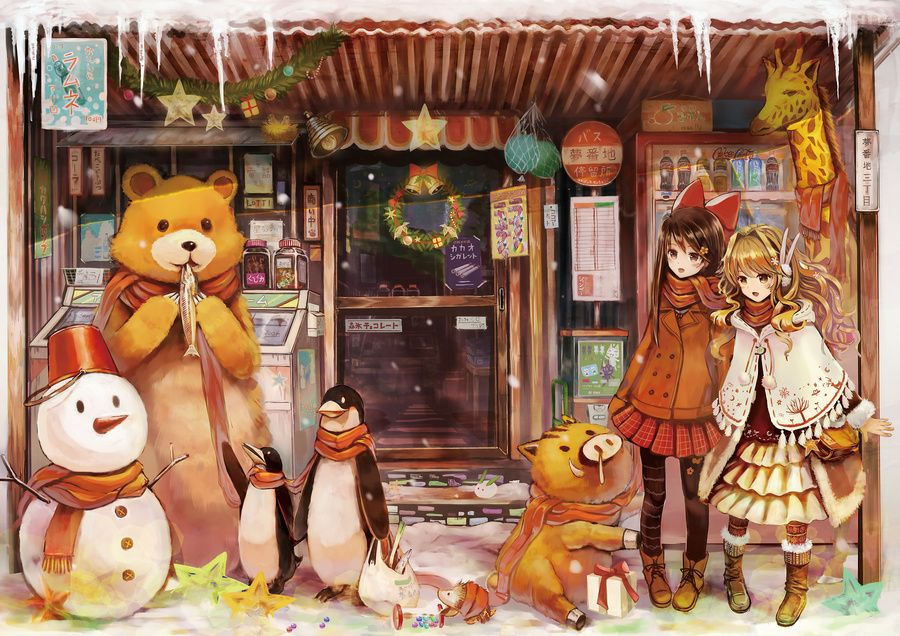 Miyagi Chan S Cafe Photo Anime Again In 2021 Christmas Anime Wallpaper Anime Christmas Anime Wallpaper Background wallpaper anime christmas