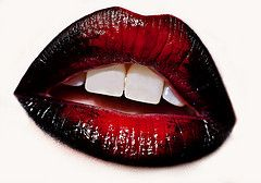 Black & red lips. Great for Halloween costumes such as she-devil, witch, or vampire.