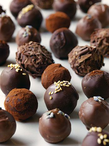 Honey lavendar truffle. A recipe from Chocolates and Confections at Home with the Culinary Institute of America