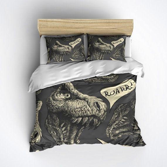 Black White Duvet Cover Set with Pillow Shams Dinosaurs Skeleton Print