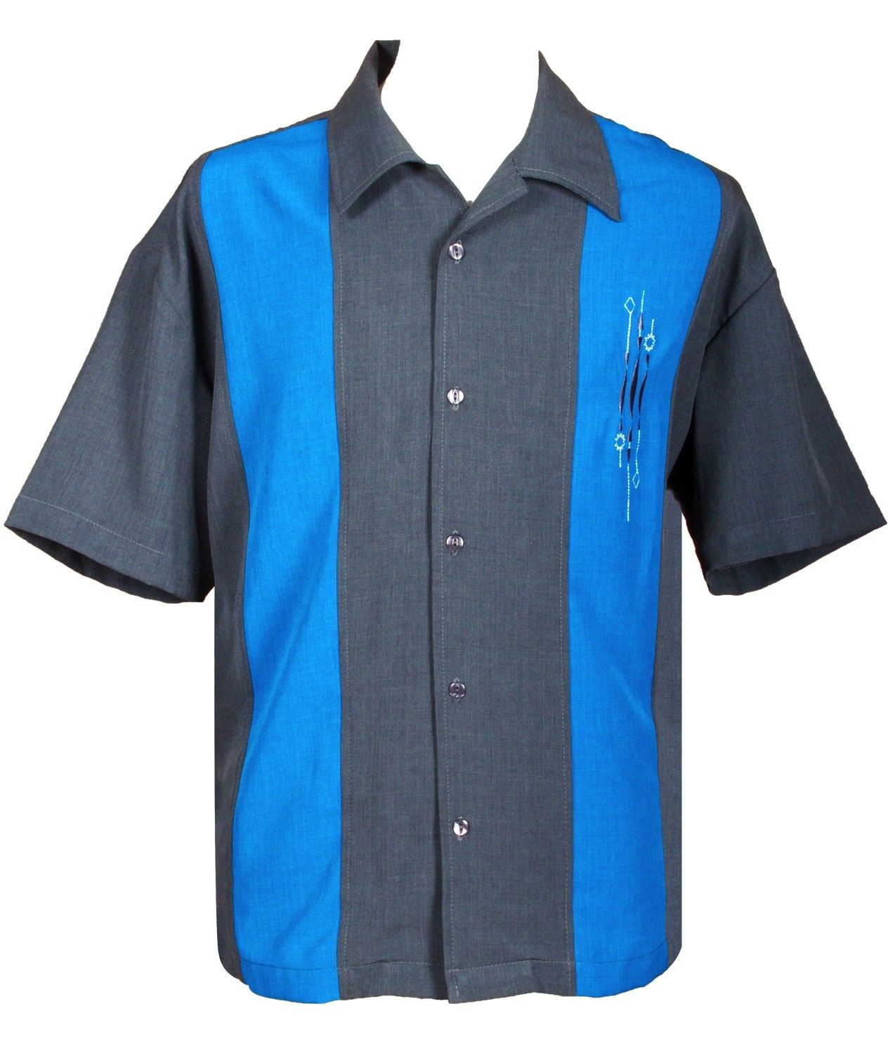 Mens Charcoal Bluetwo Panel Retro Embroidered Button Up Bowling
