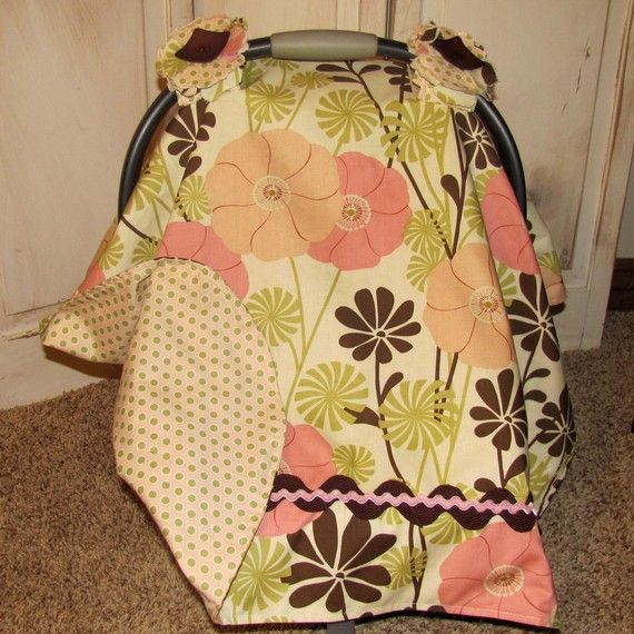 Carseat Canopy Pink City Girl Oversize Daisy by lilacslollipops, $39.99
