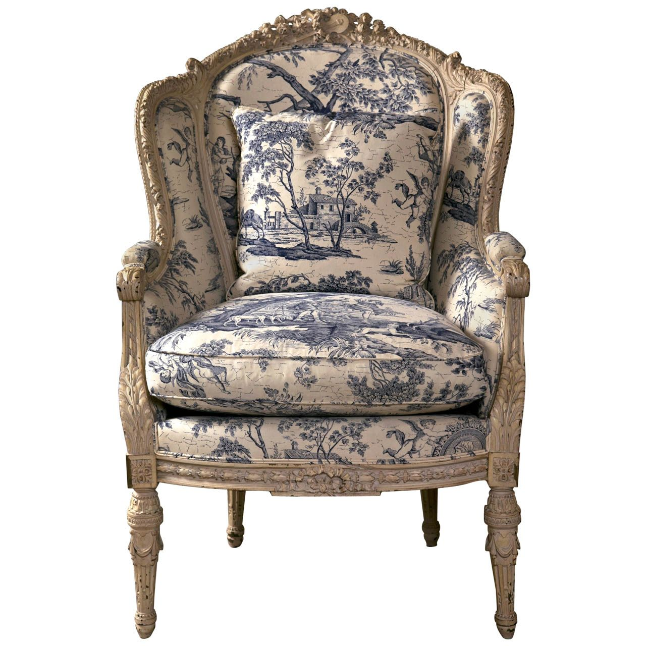 Antique wing chair - 19th C Antique French Wingback Bergere Chair