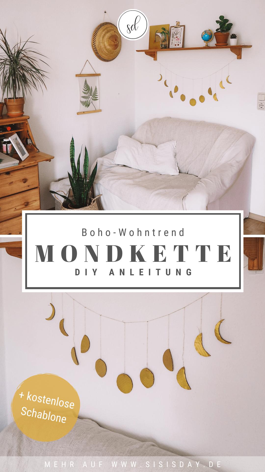 Boho Wandgestaltung: Eine selbstgebastelte Mondkette – sisisday