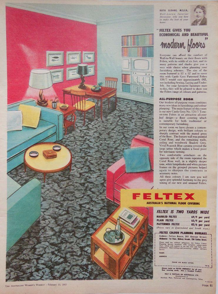 Feltex mid century home design ad 1957 original vintage