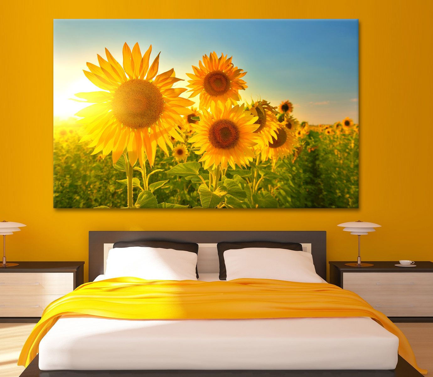 Sunflowers on the field at dawn Large Photoprint Multi Panel ...