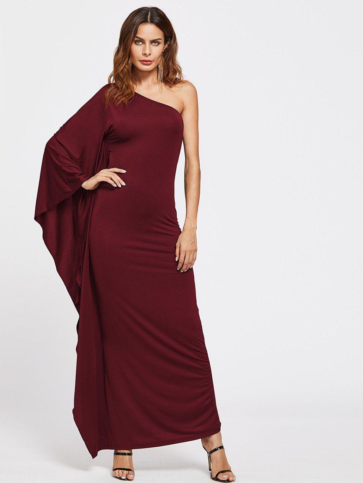 Dresses by borntowear oblique shoulder ruched detail dress