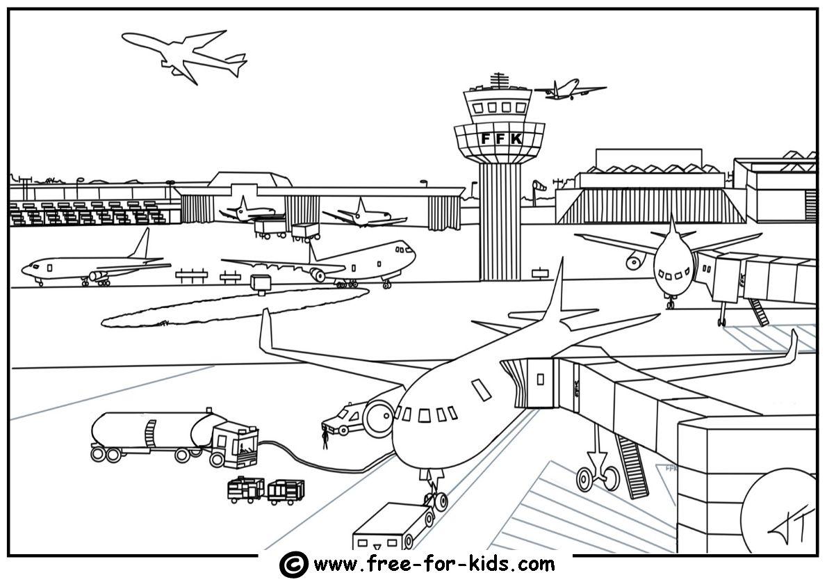 Malvorlagen Flughafen Pendidikan Warna