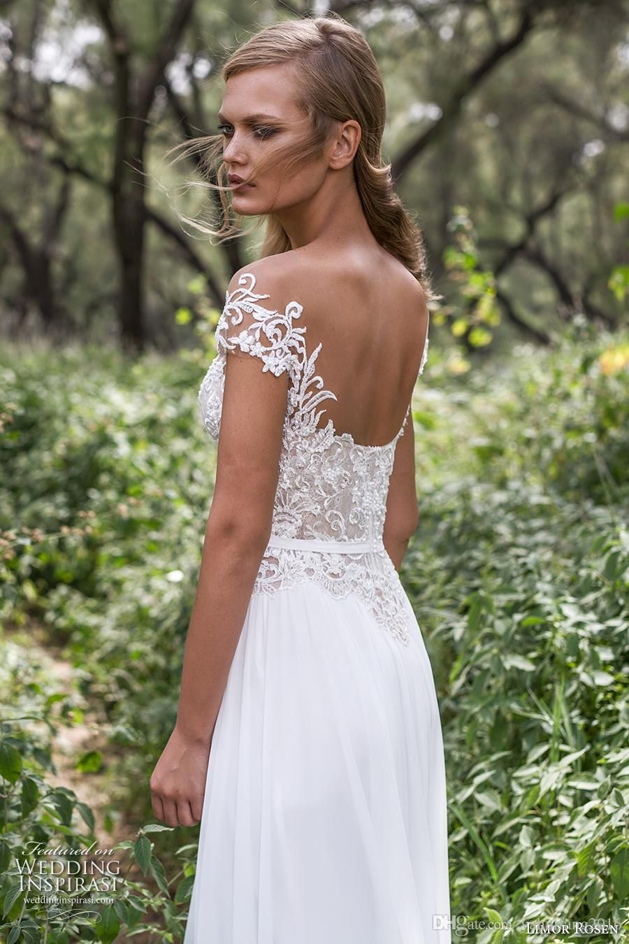 Discount country wedding dresses side split sexy scoop back