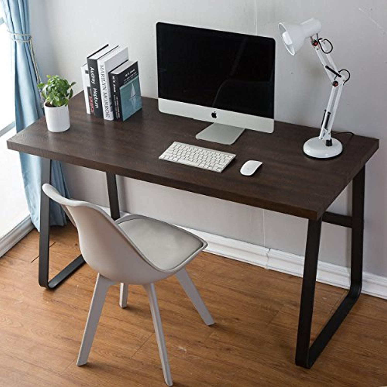 Decomate vintage computer desk wood and metal writing desk pc
