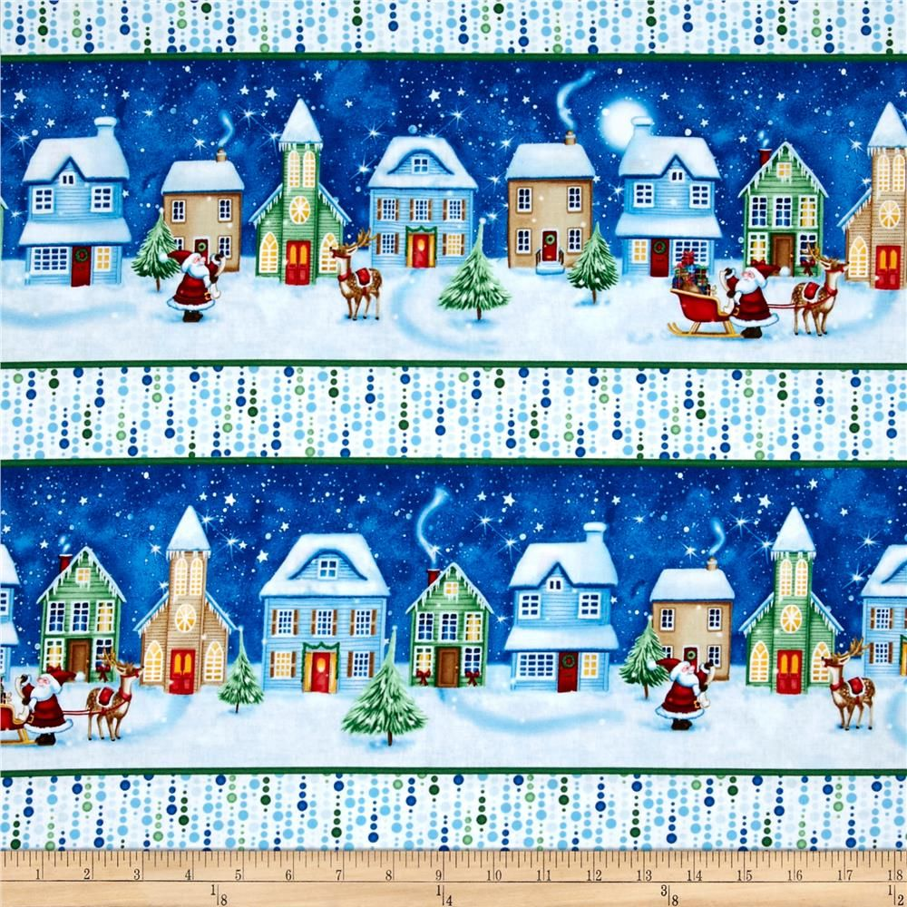 Christmas Village Repeating Stripe Multi from @fabricdotcom  From P & B Textiles, this cotton print is perfect for quilting, apparel, and home decor accents. Colors include blue, white, green, red, brown, and yellow.