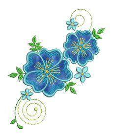 Blue Floral Applique - Allsorts Embroidery | OregonPatchWorks