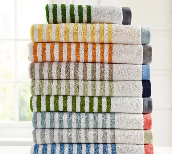 Bold stripes in bright hues refresh the bath. Our jacquard-woven towel is  loomed in Turkey for superb quality.