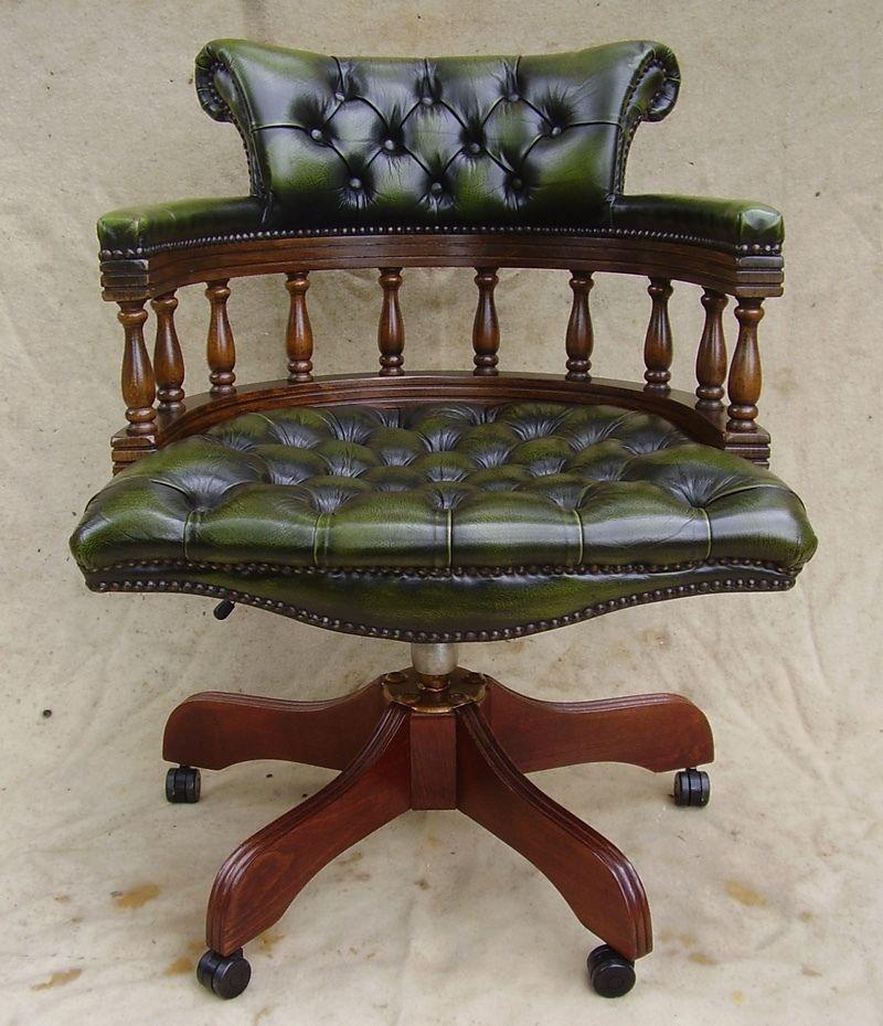 lovely chesterfield green leather swivel office desk chair