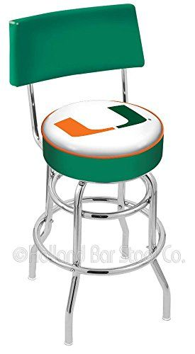 University Of Miami Fl 25 Inch Chrome Double Ring Swivel Bar Stool