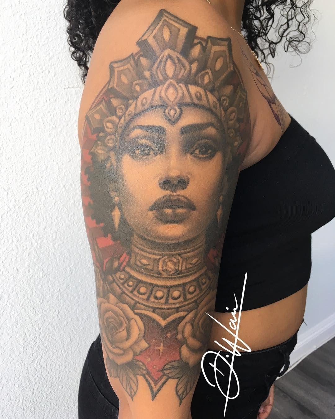 Dark Skin Tattoos | Queen Tattoo | Dark Skin Body Art | Tattoo Ideas and Inspiration | Darnell Waine
