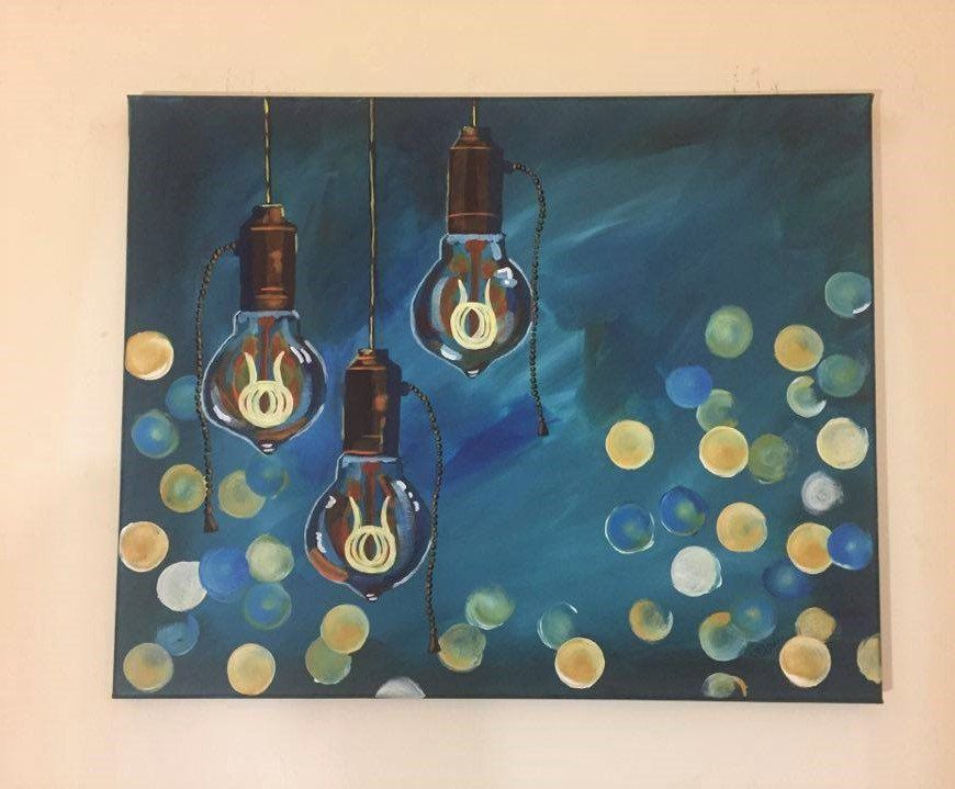Teal And Brown Wall Decor steampunk edison light bulb painting, acrylic, 16x20, teal, blue