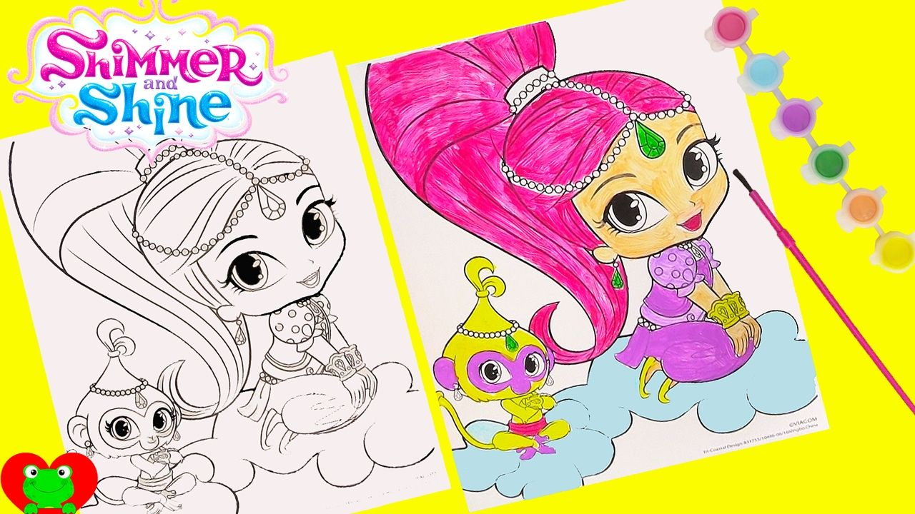 Shimmer And Shine Coloring Page Water Color Painting Surprises