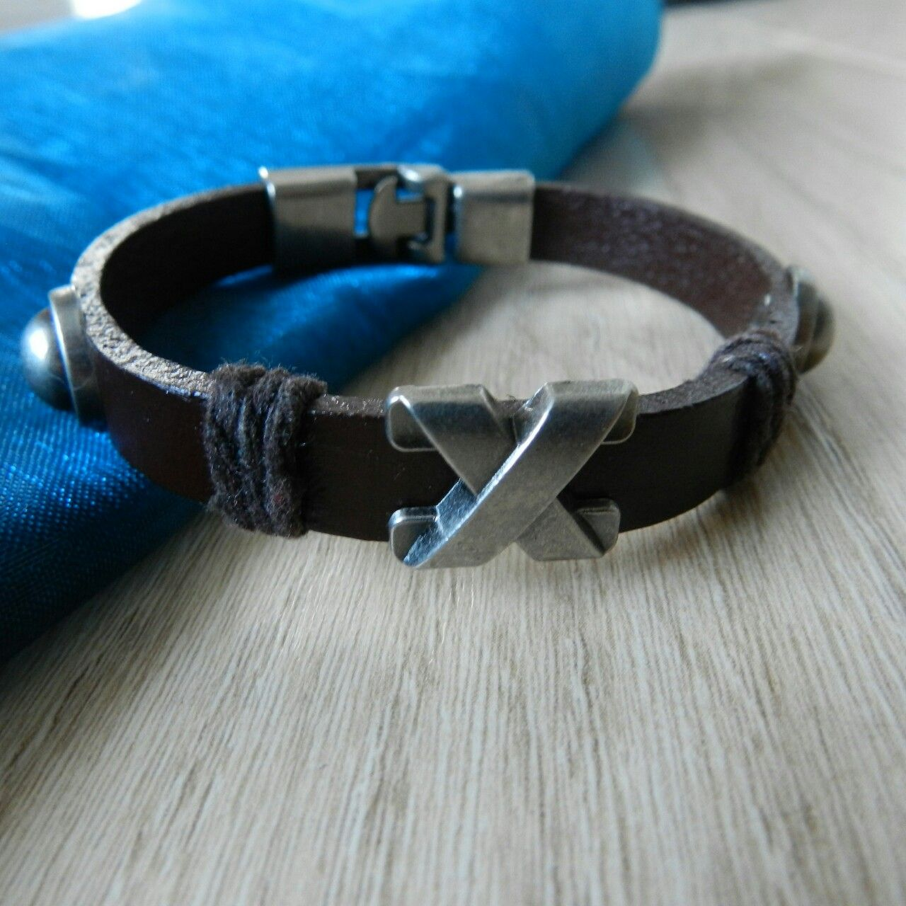 """Handmade Genuine Leather Wrap Cross Charm Mens Bracelet.  Approximately 8""""  Shipped within 3 days of purchase.  #handmade #genuineleather #cross #charm #mens  #bracelet"""