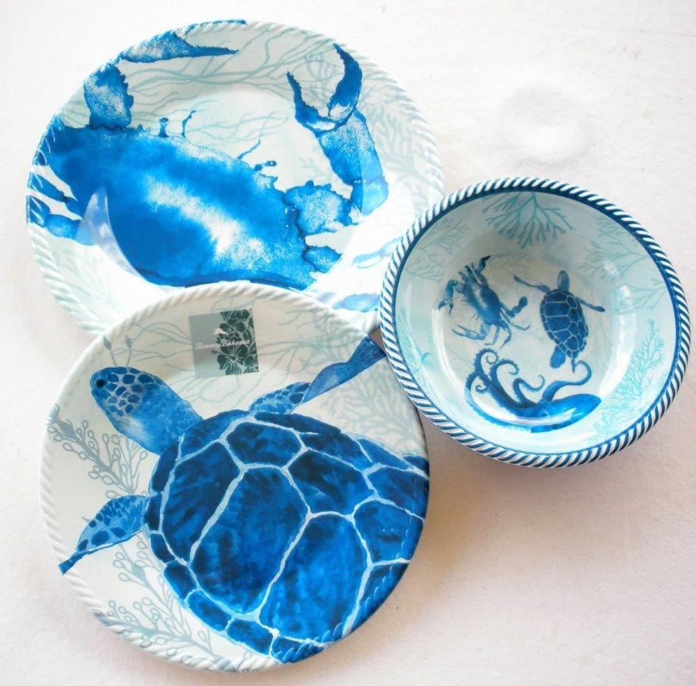 Tommy Bahama Melamine Dinnerware Plates Bowls 12pc set Nautical Rope Turtle Crab #TommyBahama & Tommy Bahama Melamine Dinnerware Plates Bowls 12pc set Nautical Rope ...