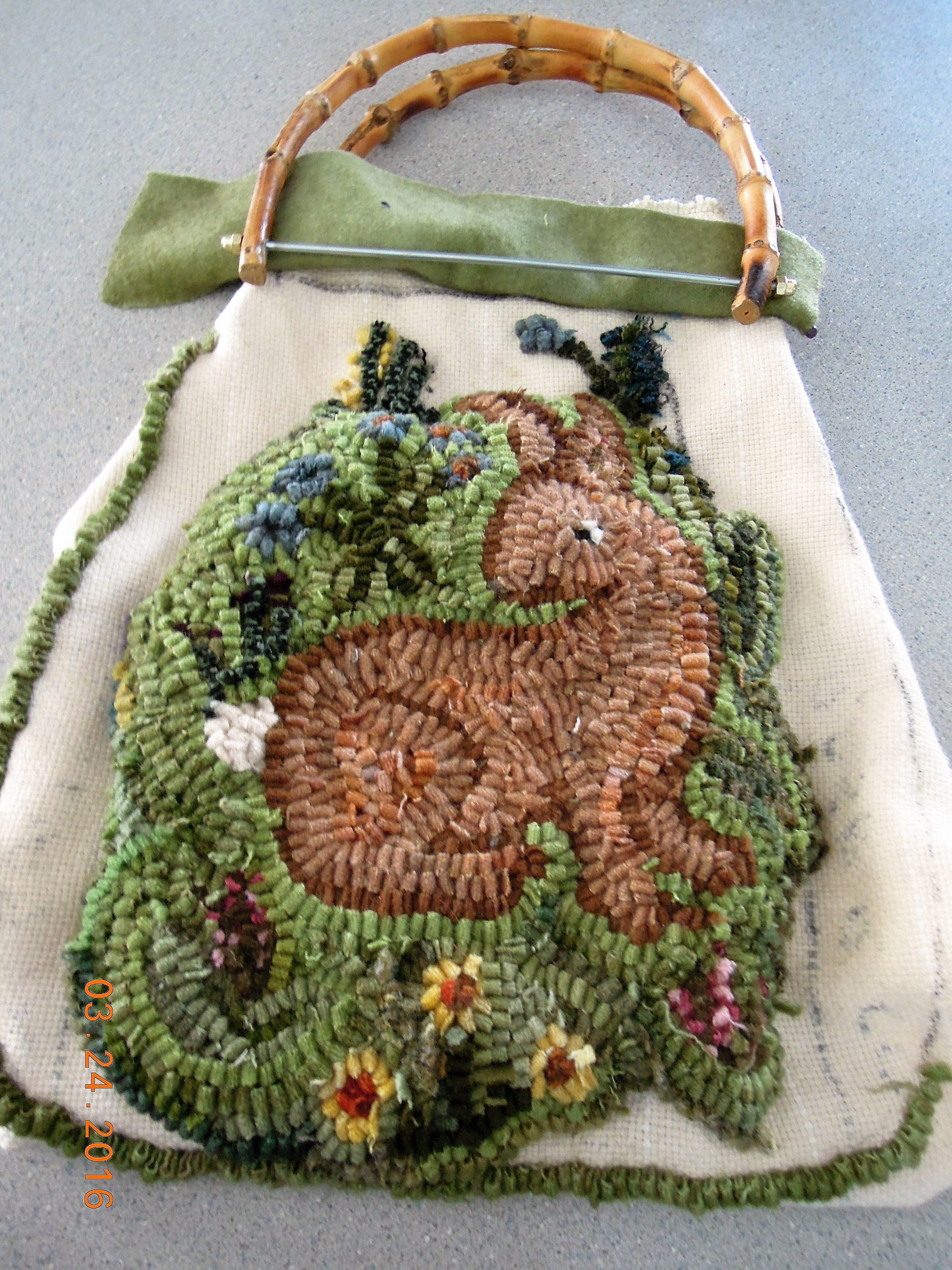 Purse for Denise,  Pattern from rug hooking magazine.