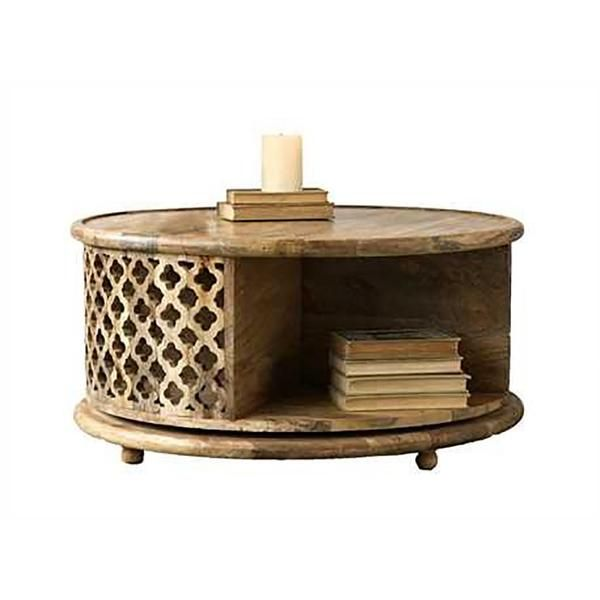 Hand Carved Mango Wood Rotating Coffee Table Mango Wood