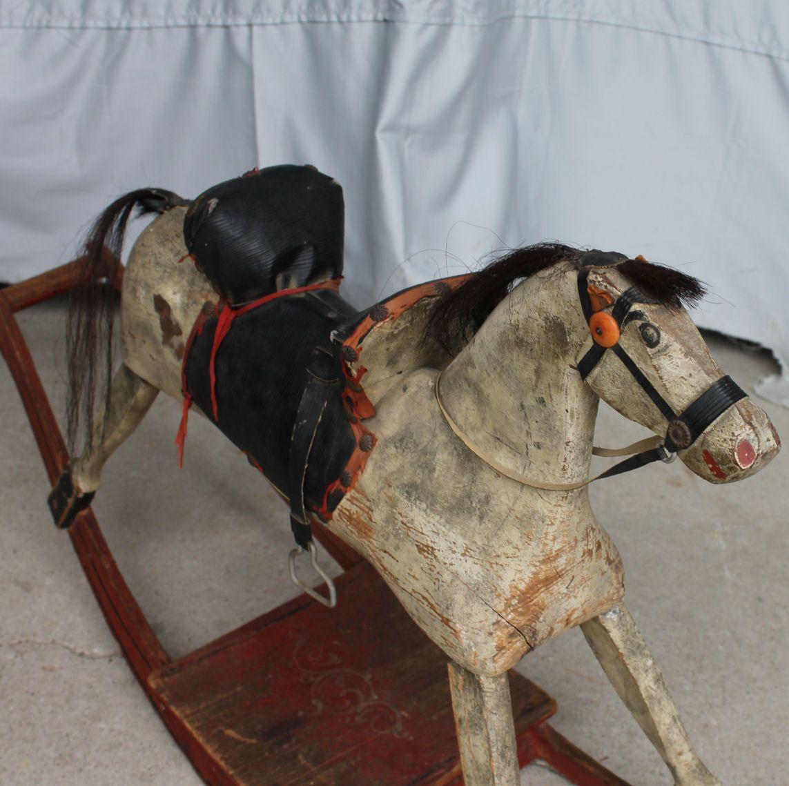 Antique Rocking Horses For Sale | Furniture > Antique Primitive Wooden Rocking Horse
