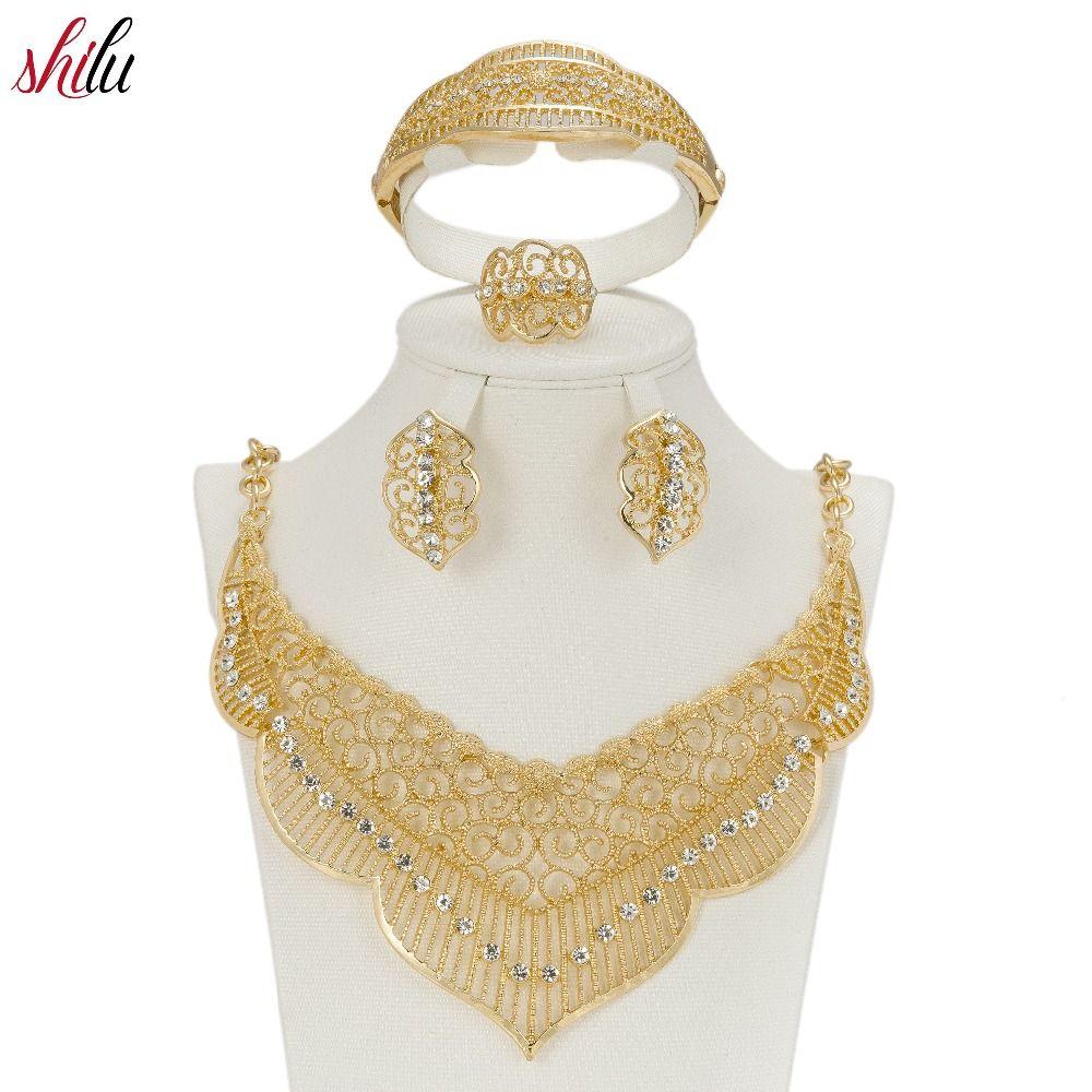 SHILU 2017 Latest Original Fashion Dubai Gold Color Full Crystal Bridal Jewelry Sets Italian Set For
