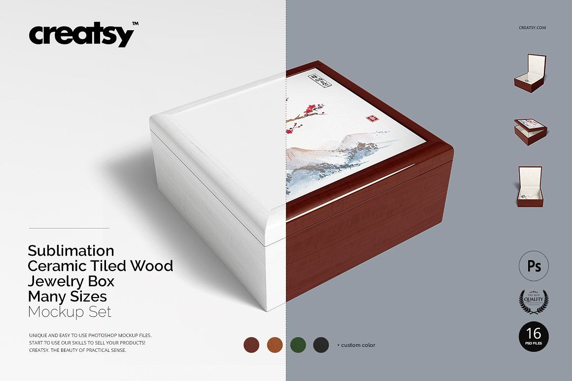 Download Tiled Wood Jewelry Box Mockup Set Wood Jewelry Box Wood Tile Box Mockup