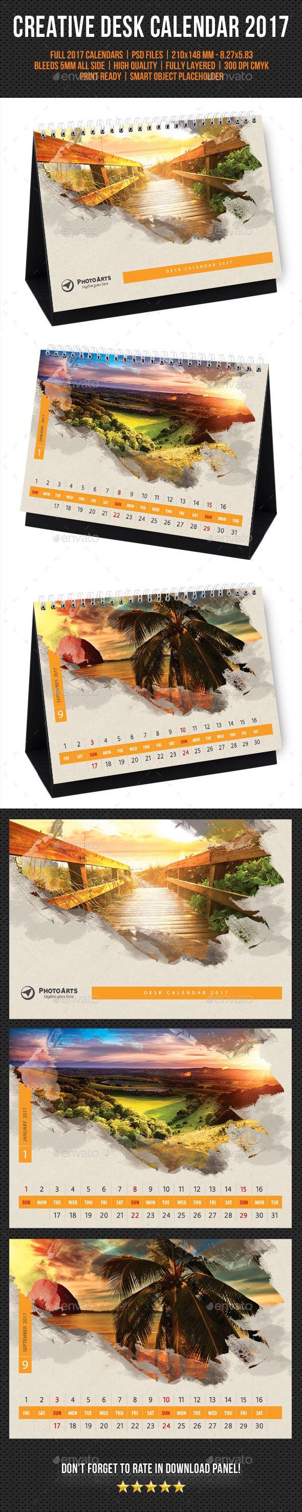 Creative Desk Calendar 2017 Template Psd Calendar Templates