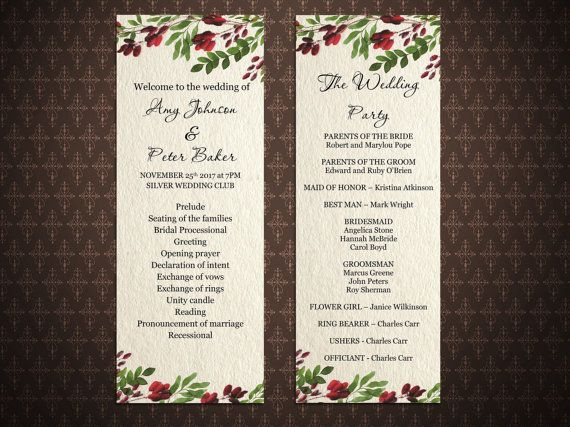 Marsala And Burgundy Wedding Program Template Editable Wedding - Floral wedding program templates