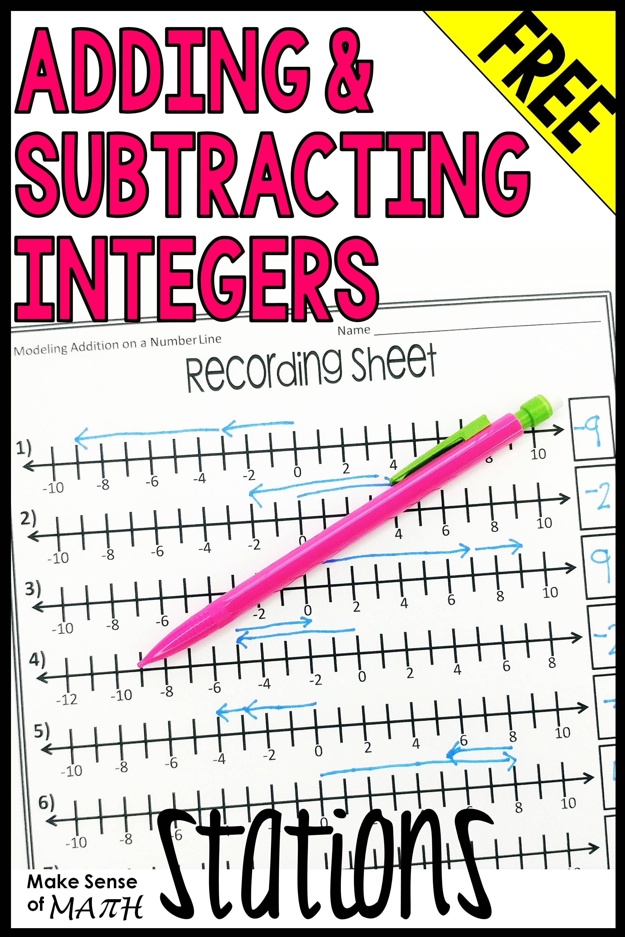 Adding And Subtracting Integers Stations Middle School Math Math Integers Adding And Subtracting Integers Adding and subtracting integers fun