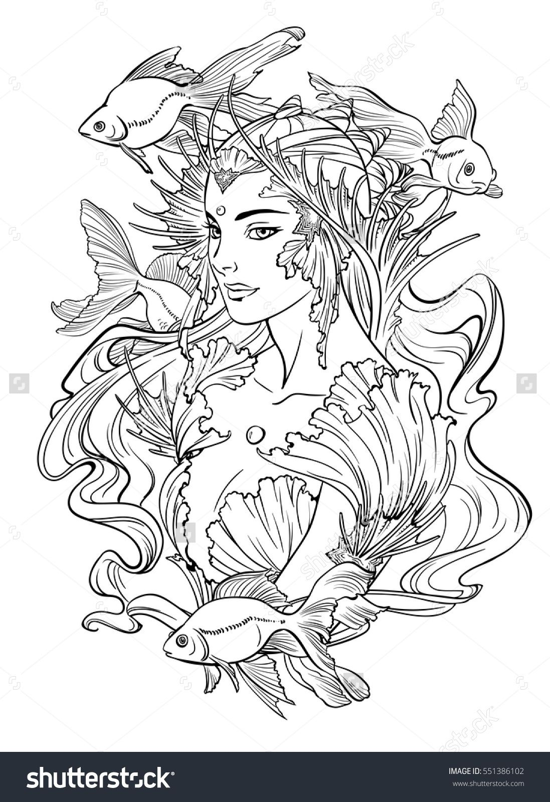 Illustration Of Mermaid Princess With Curled Hair Decorated With Seashell Elements And