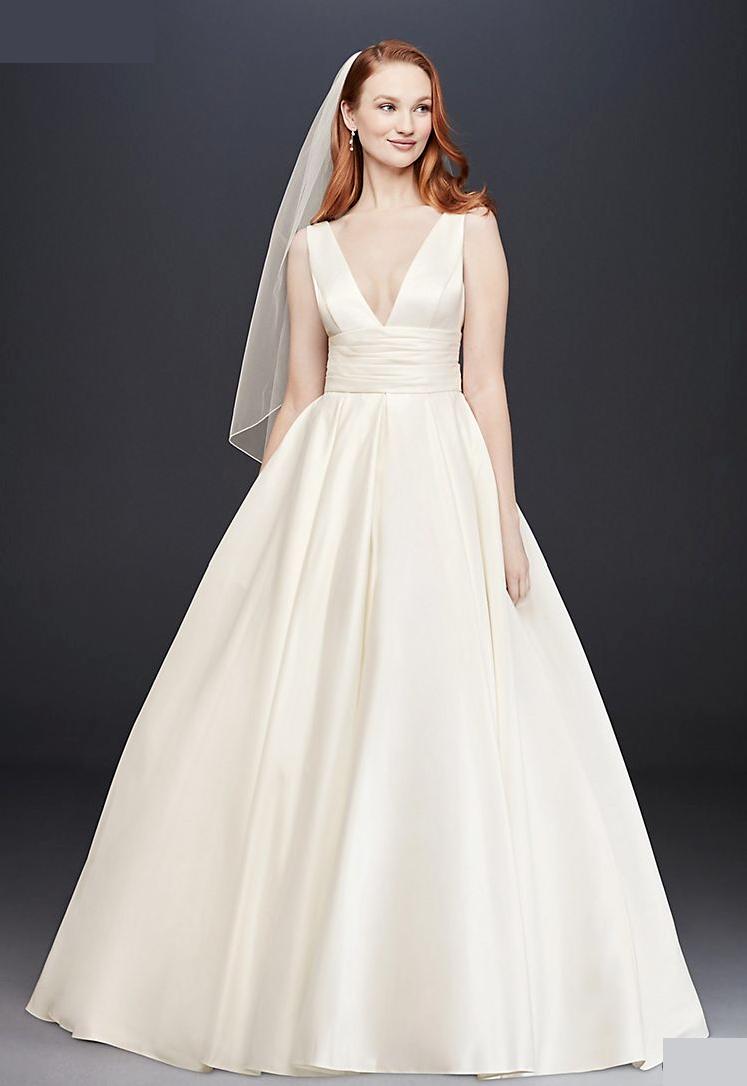 David S Bridal Satin Cummerbund Ball Gown Wedding Dress Ivory Size 10 Worn Once Ebay Ball Gown Wedding Dress Ball Gowns Wedding Wedding Dresses Satin