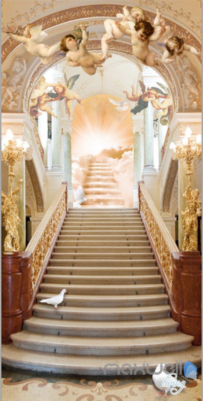 3D Classic Angel Bird Heaven Stair Corridor Entrance Wall Mural