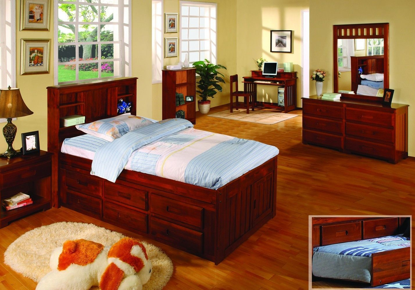Addison Captains Bed with Bookcase Headboard and Six
