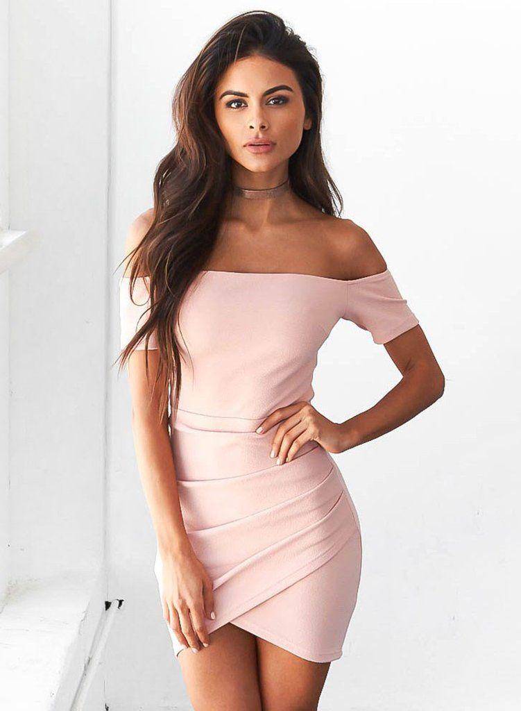 Pink off Shoulder Bodycon Irregular Dress   Vestiditos