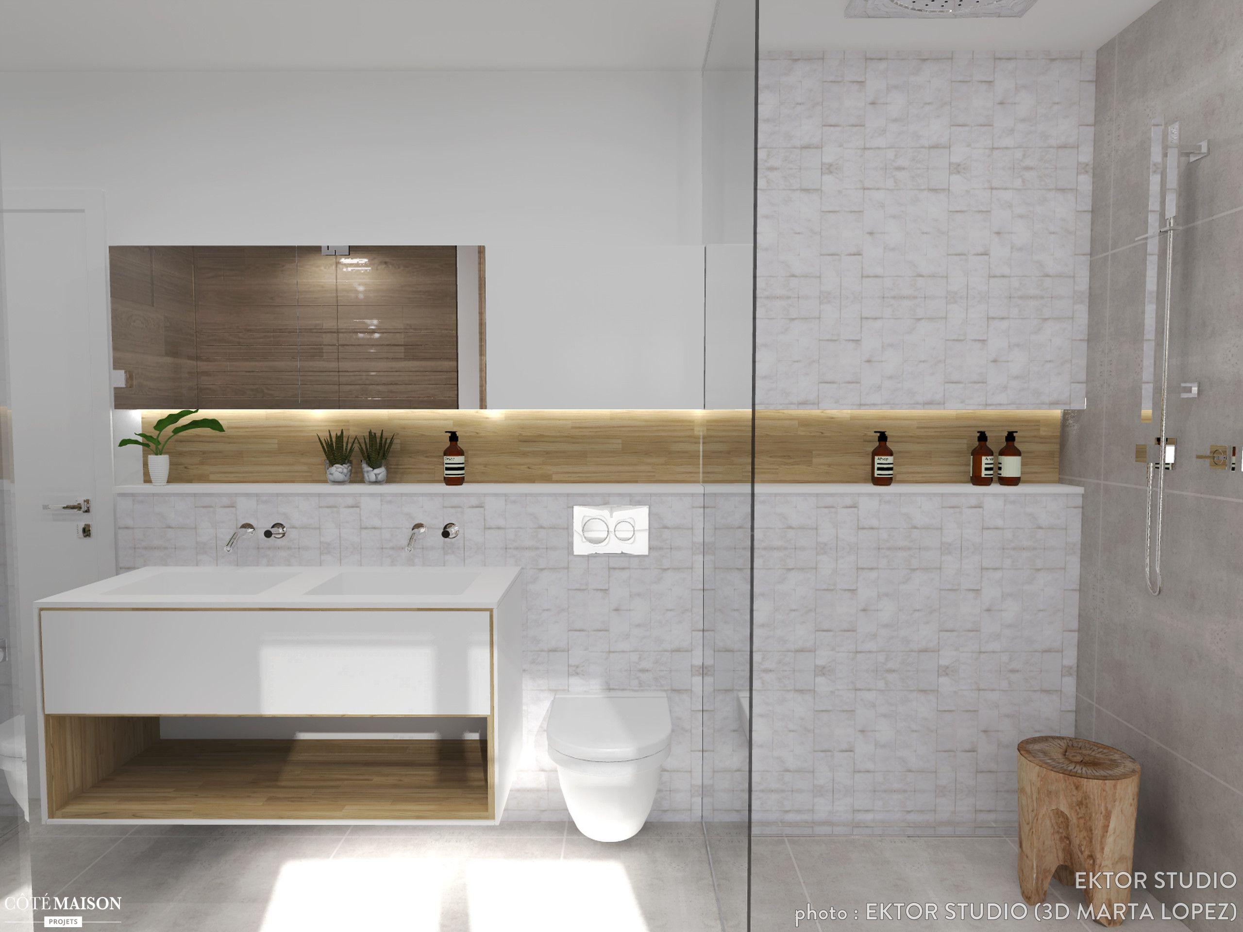 Une salle de bains moderne avec douche à l\'italienne. | le ...