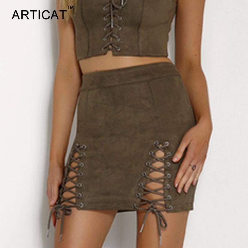 7c146bef222d8 $22.1 - Cool ARTICAT Sexy Lace Up Leather Suede Skirts Women Vintage ...