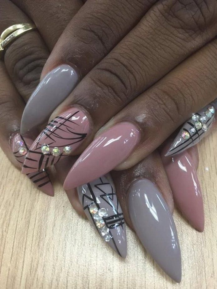 rhinestone nail art accent nail art everyday nails stiletto shape nails gray nails gray nail