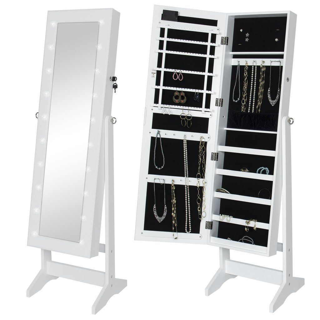Delicieux Best Choice Products LED Lighted Mirrored Jewelry Cabinet Armoire W/ Stand   White