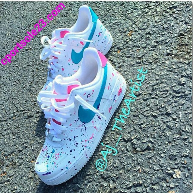 Custom Splat Air Force 1s Love These But Maybe A Different Color Scheme Possibly Red And Black Sneakers Fashion Nike Shoes Nike Shoes Women