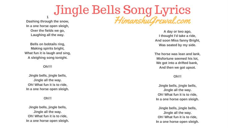 Jingle Bells Song Lyrics In English Free Download Songs Song Lyrics Lyrics